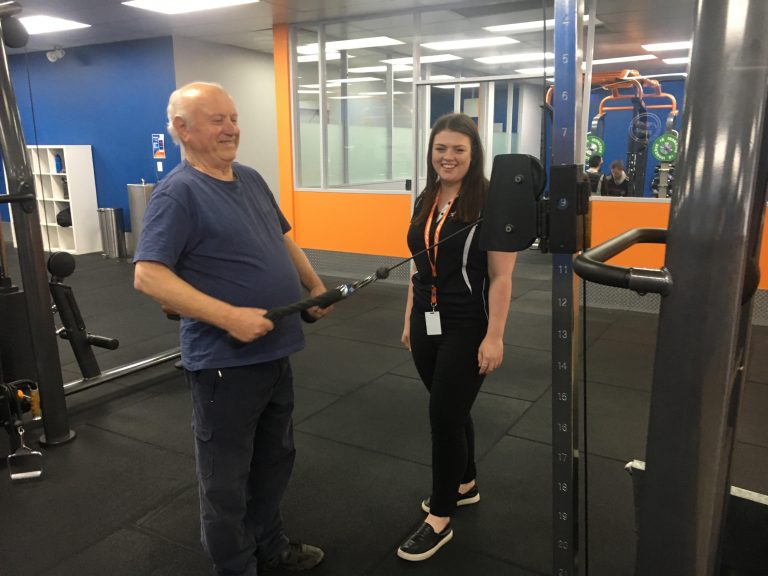 Arthur lifting weights to tackle his diabetes